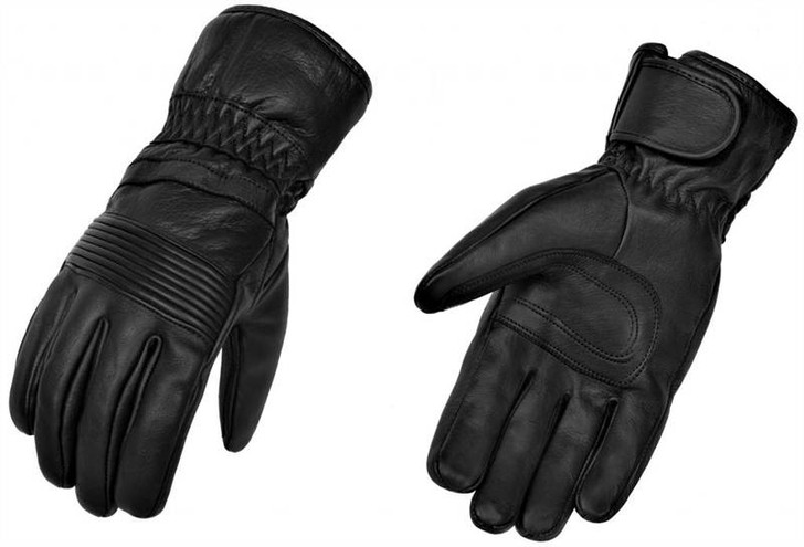 True Element Mens Premium Motorcycle Gauntlet Glove with Elasticized Knuckle and Wrist (Black, Sizes S-2XL)