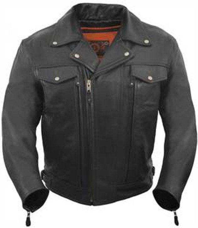 True Element Mens Asymmetrical, Vented Leather Motorcycle Jacket with 2 Utility Storage Pockets (Black, Sizes S-5XL)