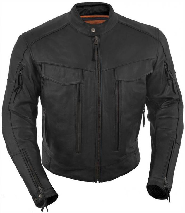 True Element Mens Premium Vented Scooter Style Collar Leather Motorcycle Jacket with Utility Storage Pockets (Sizes S-5XL)