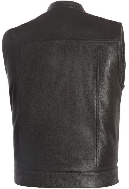 True Element Mens Scooter Style Leather Motorcycle Vest (Black, Sizes S-5XL)