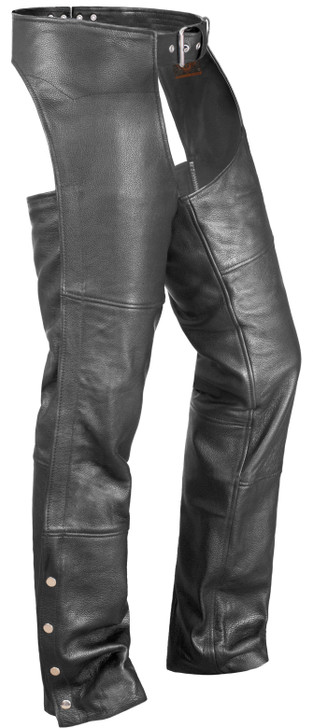 True Element Unisex Basic Motorcycle Leather Chaps with Coin Pocket (Black, Sizes 2XS-5XL)