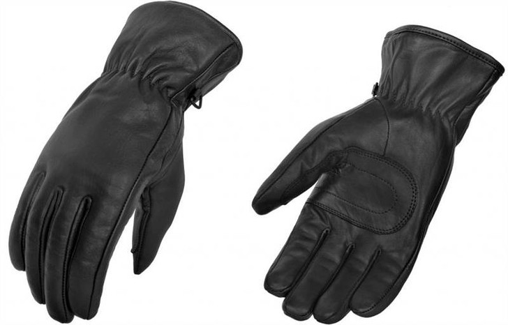 True Element Womens Short Motorcycle Gauntlet Glove with Elasticized Wrist (Black, Sizes S-2XL)