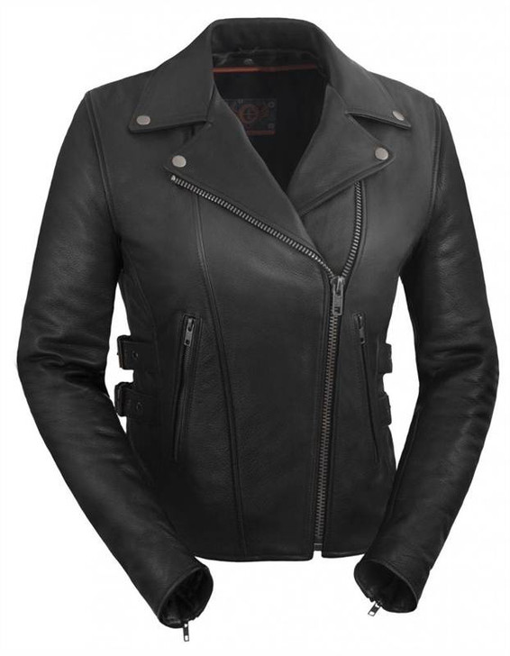 True Element Womens Premium Vented Motorcycle  Leather Jacket (Black, Sizes XS-3XL)