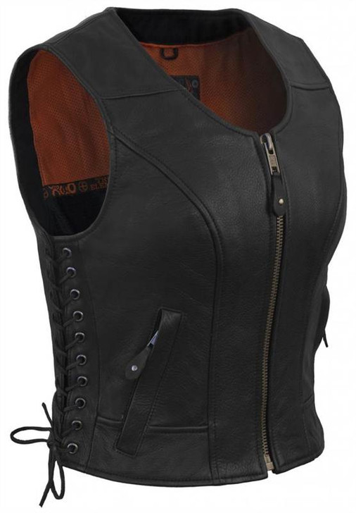 True Element Womens Fitted Side Laced Leather Motorcycle Vest with Zip Front Closure (Black, Sizes XS-3XL)