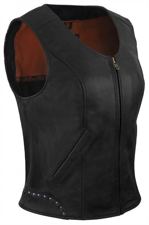 True Element Womens Rivet Accented Zip Front Motorcycle Leather Vest (Black, Sizes XS-3XL)