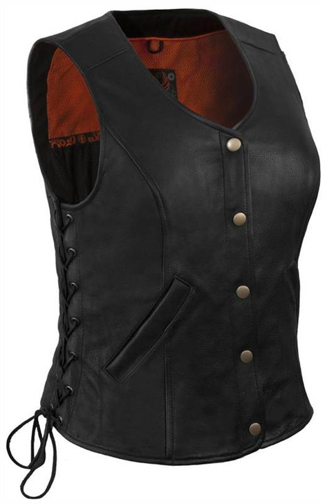True Element Womens Longer Length Motorcycle Leather Vest With Side Laces (Black, Sizes XS-3XL)