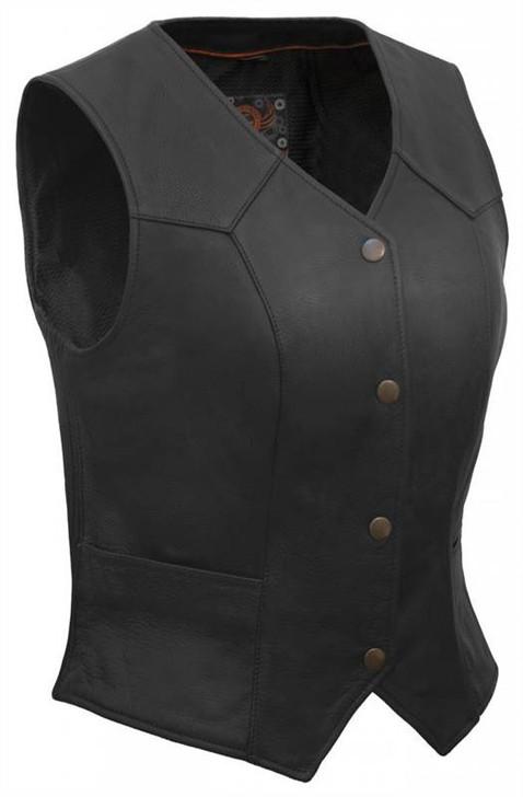 True Element Womens Classic Motorcycle Leather Vest (Black, Sizes XS-3XL)