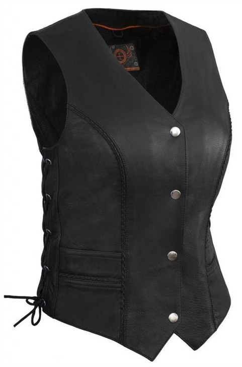True Element Womens Braided Motorcycle Leather Vest With Side Laces (Black, Sizes XS-3XL)