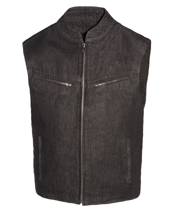 True Element Mens Scooter Collar  Club Style Denim Vest with Concealed Carry Pockets ( Size S- 5XL)