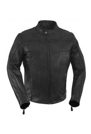 True Element Mens Vented Scooter Collar Leather Motorcycle Jacket