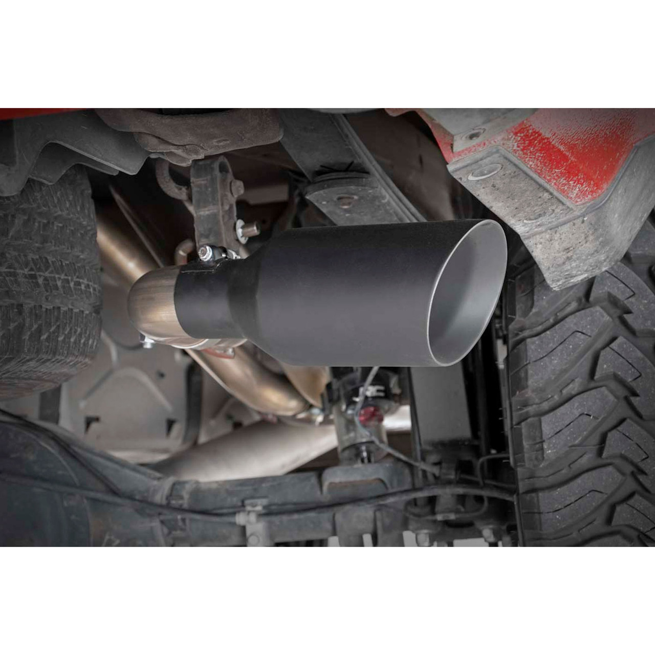 2014-2018 Chevy / GMC 1500 5.3L Dual Cat Back Exhaust System with Black Tips