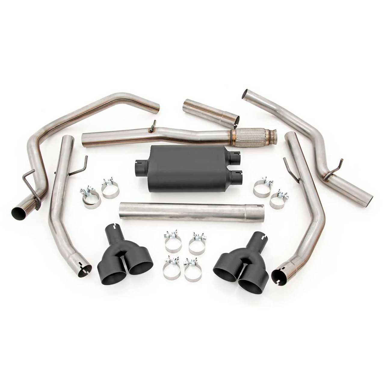 2019-2020 Chevy Silverado 1500 5.3L Dual Cat Back Exhaust System with Black Tips