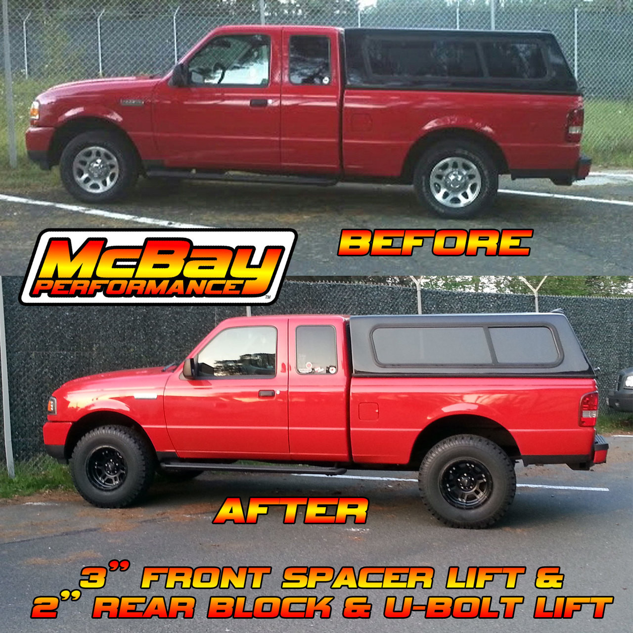 "1706 - 2-1/2"" to 3"" Lift Front Coil Spring Spacer Installed in a 2WD Ford Ranger"