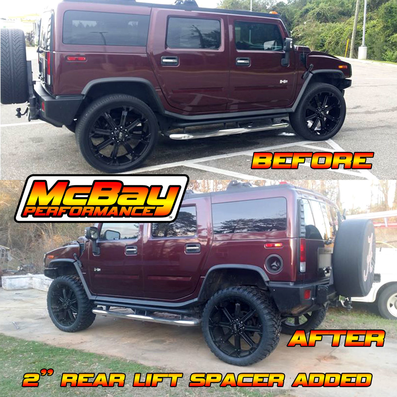 "MP1629 - 2"" Rear Coil Spring Spacer Lift Installed on a Hummer H2"