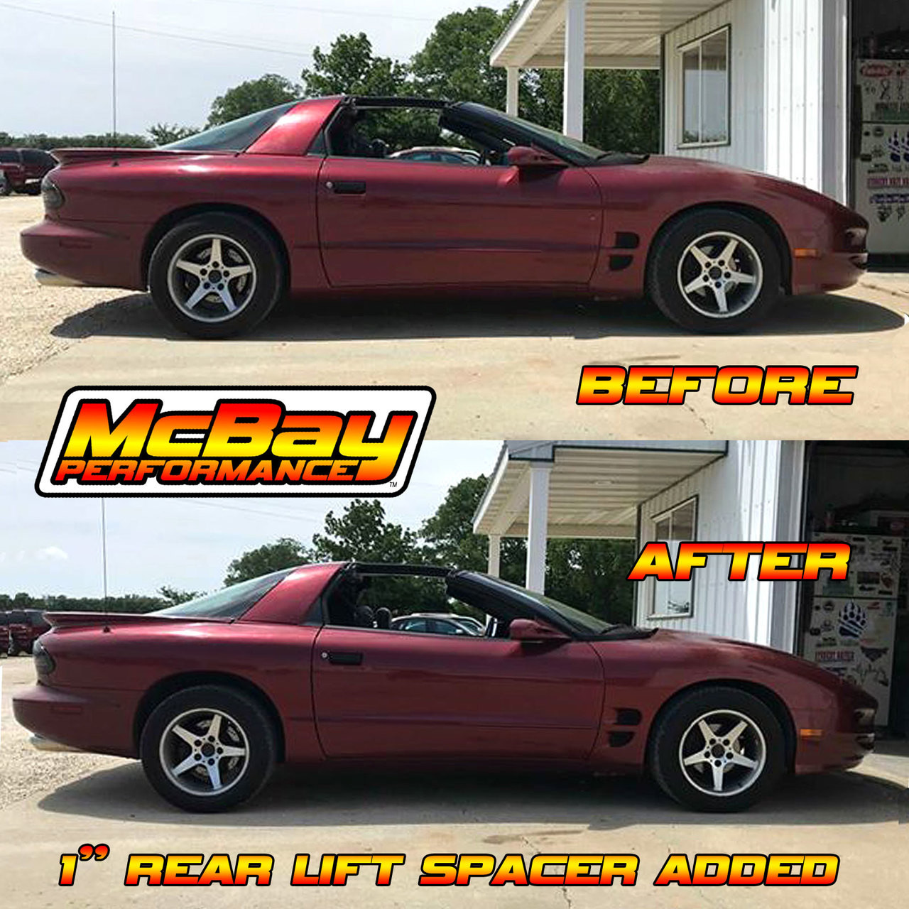 "MP1627 - 1"" Rear Coil Spring Spacer Lift Installed on a Firebird"