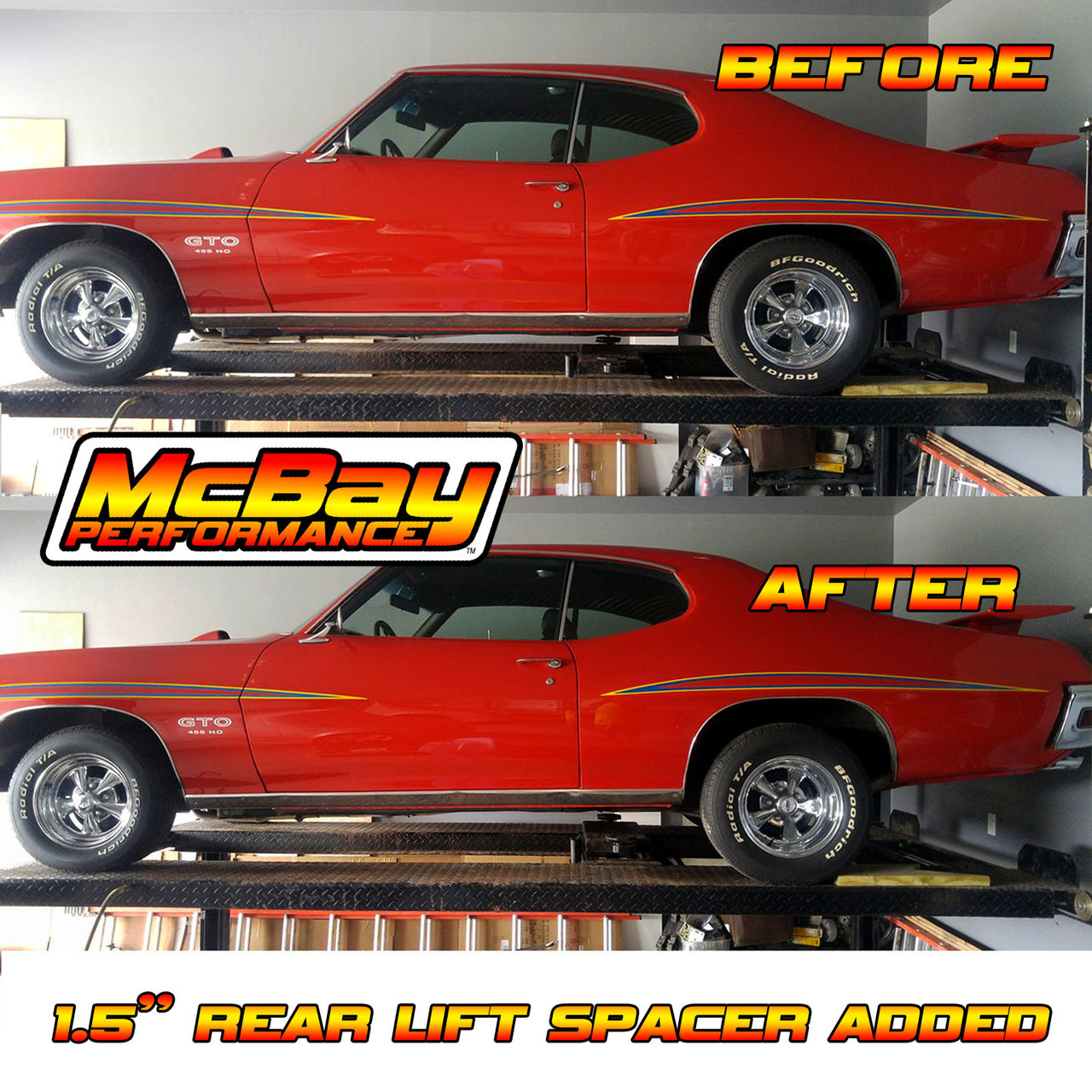 """MP1628 - 1.5"""" Rear Coil Spring Spacer Lift Installed on a GTO"""