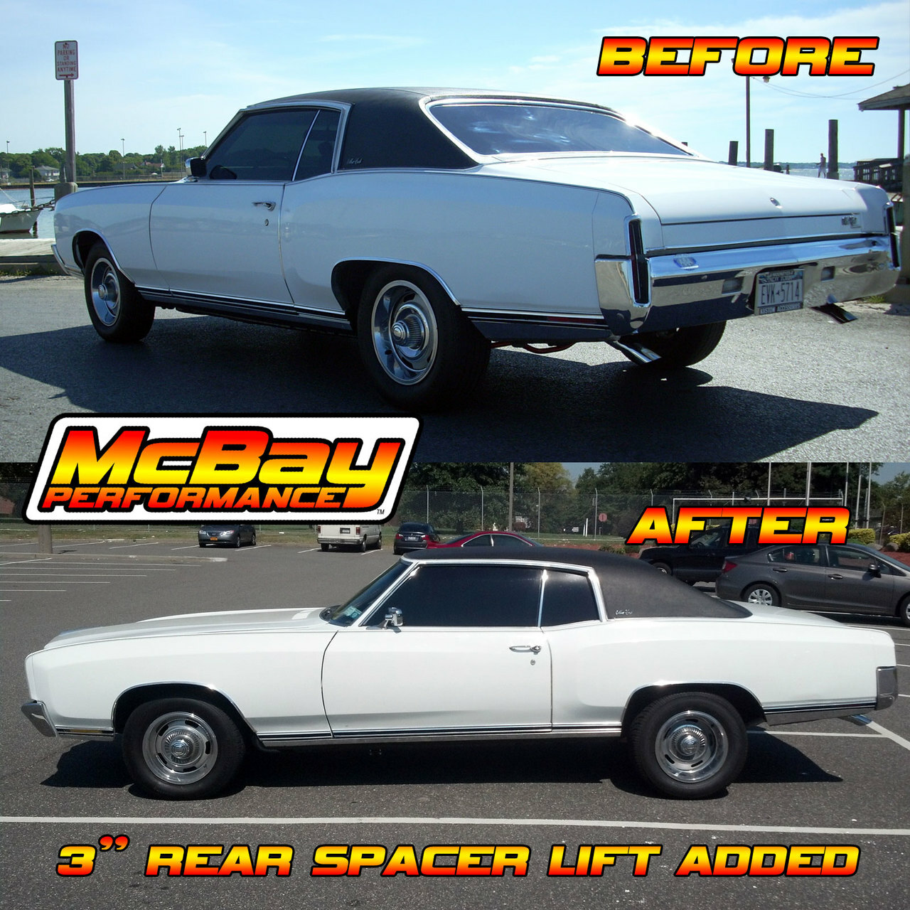 """MP1630 - 3"""" Rear Coil Spring Spacer Lift Installed on a Monte Carlo"""