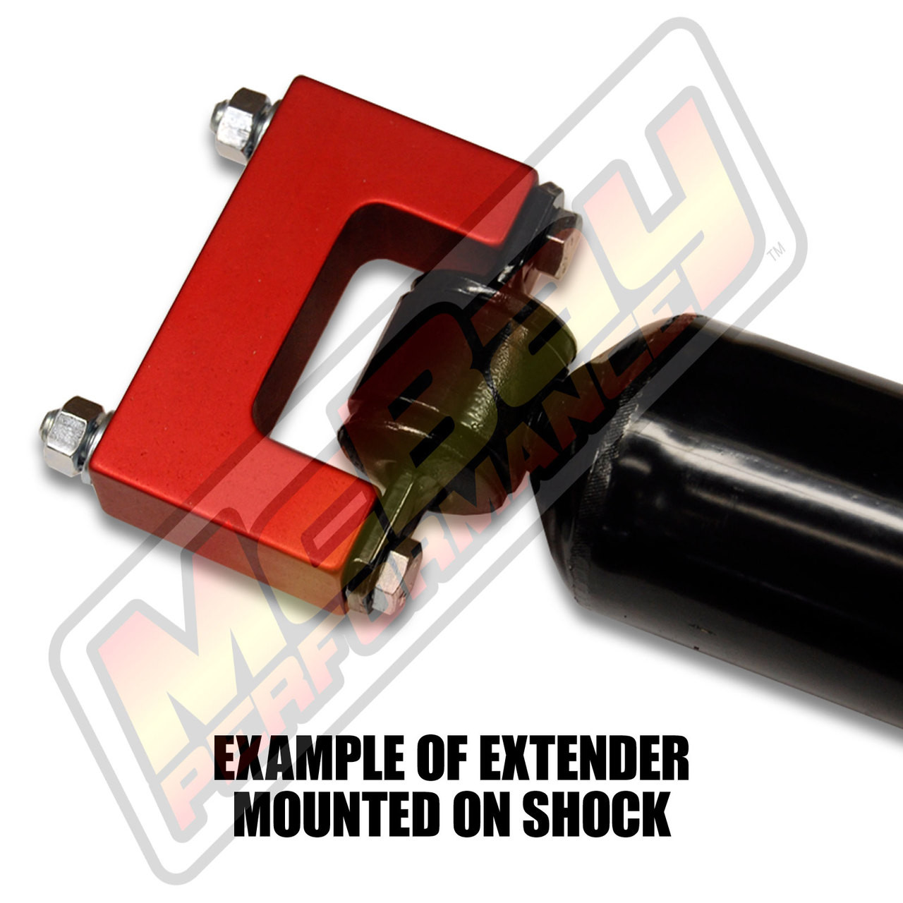 """SE-200 - 2"""" Rear T-Style Shock Extender on Shock"""