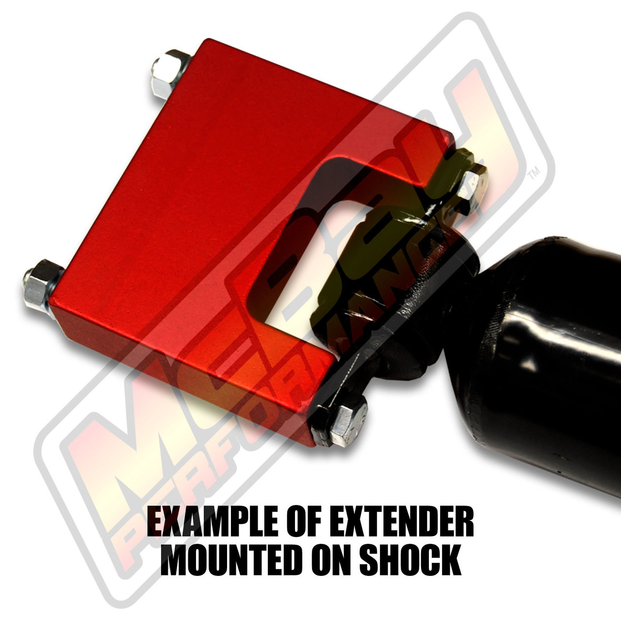 """SE-300 - 3"""" Rear T-Style Shock Extender on Shock"""