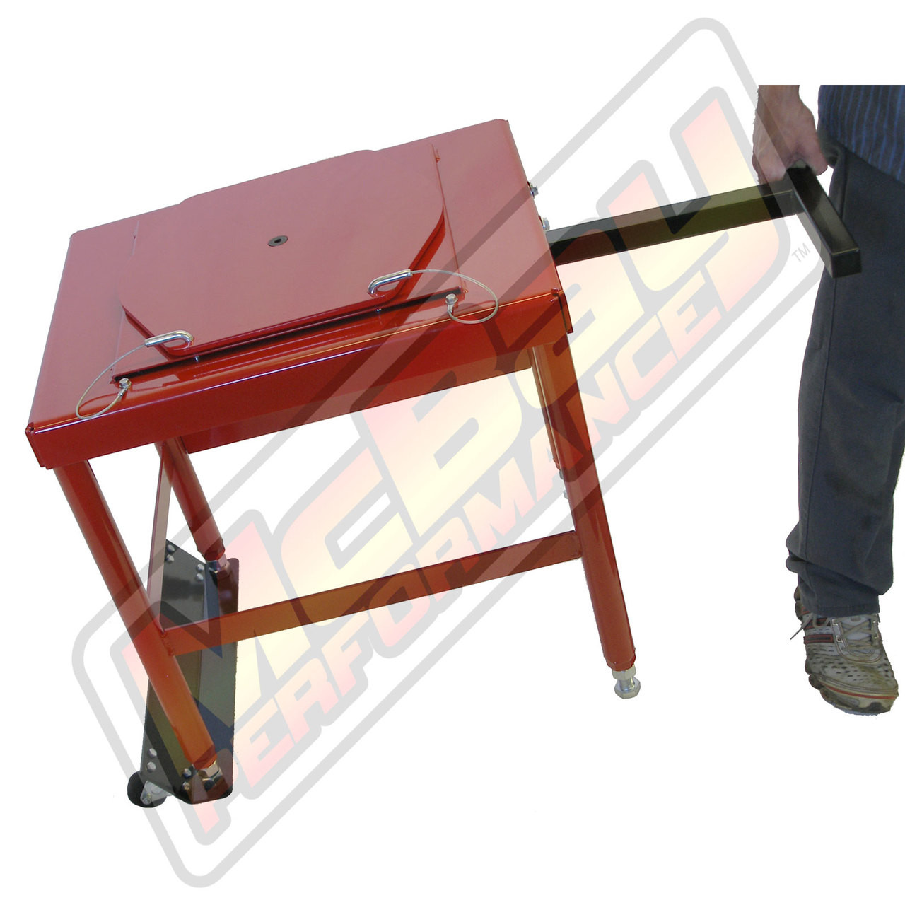 """20-24H - 24"""" Portable Standard Duty Alignment Stand Set Optional Wheel & Roller Kit In Action"""