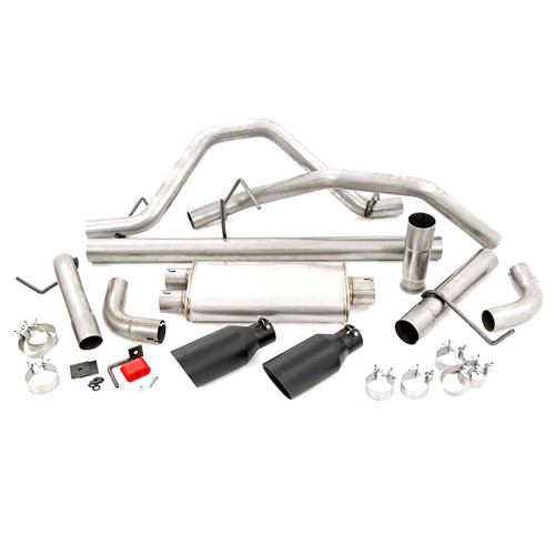 2009-2013 Chevy / GMC 1500 4.8L & 5.3L Dual Cat Back Exhaust System with Black Tips