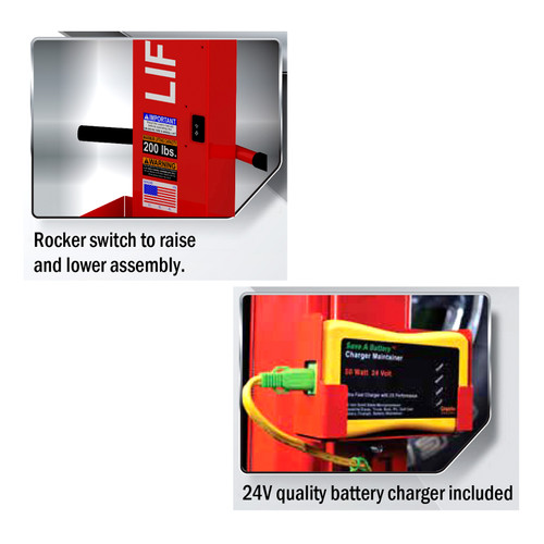 LM-200-R2 - Lift-Mate Rechargeable, 200 lb Capacity, Mobile Tire & Wheel Lift Machine   McBay Performance