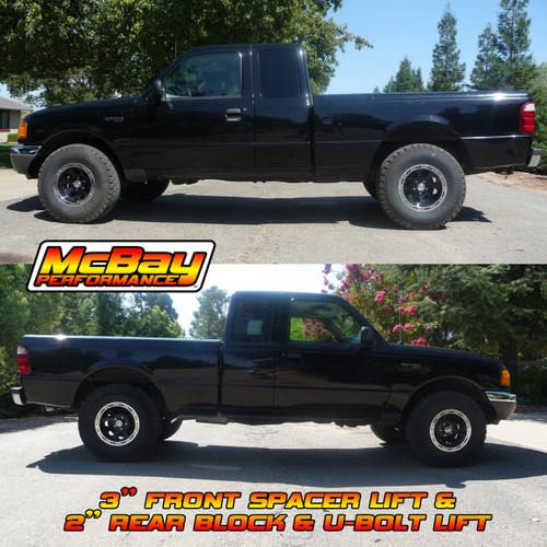 "MP-F2001 - 2"" Rear Block & U-Bolt Kit Installed on a 2WD Ford Ranger"