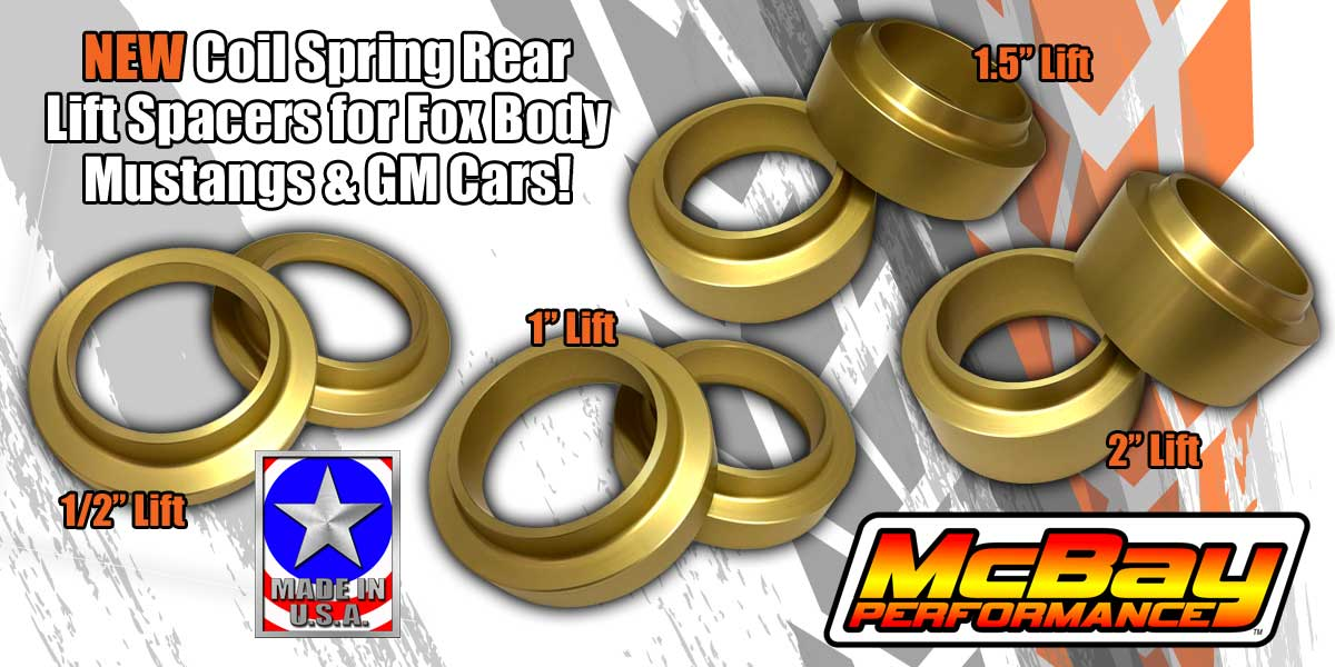 New Coil Spring Rear Lift Spacers for Ford Mustangs & GM Cars