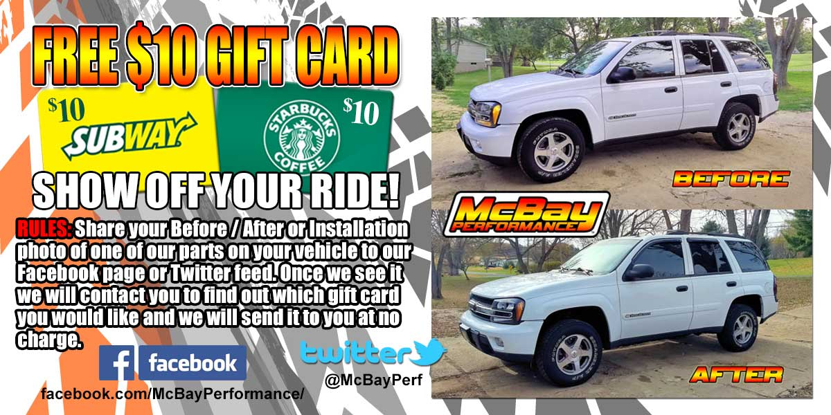Get a $10 Gift Card for Showing McBay Performance Parts Installed on Your Ride