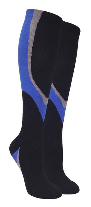 Heavy Cushion Sport Compression Socks - Black/Blue (Size: 9-11, 10-13) - 1 dozen