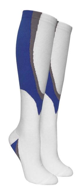 Heavy Cushion Sport Compression Socks - White/Blue (Size: 9-11, 10-13) - 1 dozen