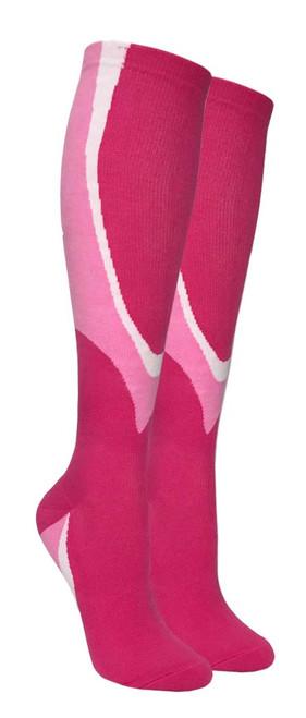 Heavy Cushion Sport Compression Socks - Pink/Light Pink (Size: 9-11) - 1 dozen
