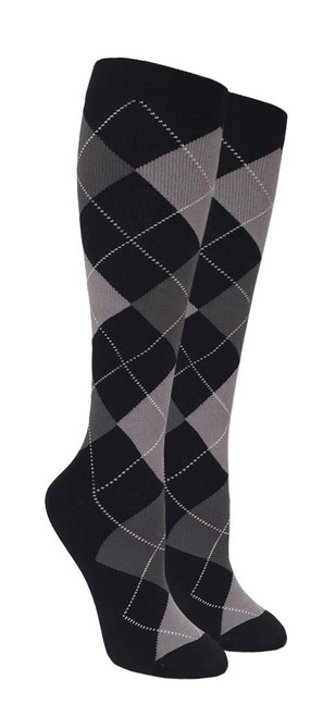 Compression Socks - Black/Grey Argyle (Size: 9-11) - 1 dozen