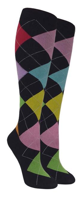 Compression Socks - Black/Color (Size: 9-11) - 1 dozen