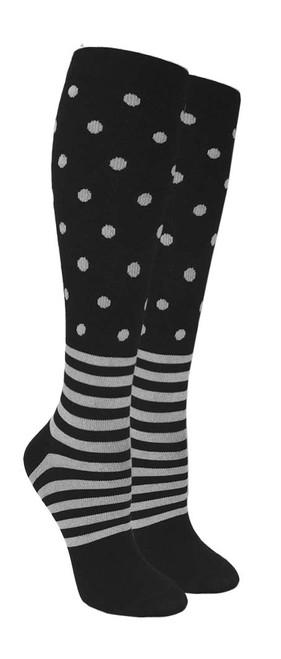 Compression Socks - Black/Grey Polka-Stripe (Size: 9-11) - 1 dozen