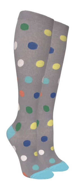 Compression Socks - Gray/Color Polka Dots (Size: 9-11) - 1 dozen
