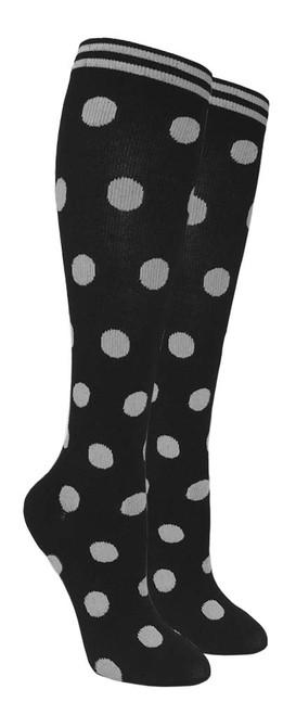 Compression Socks - Black/Gray Polka Dots (Size: 9-11) - 1 dozen