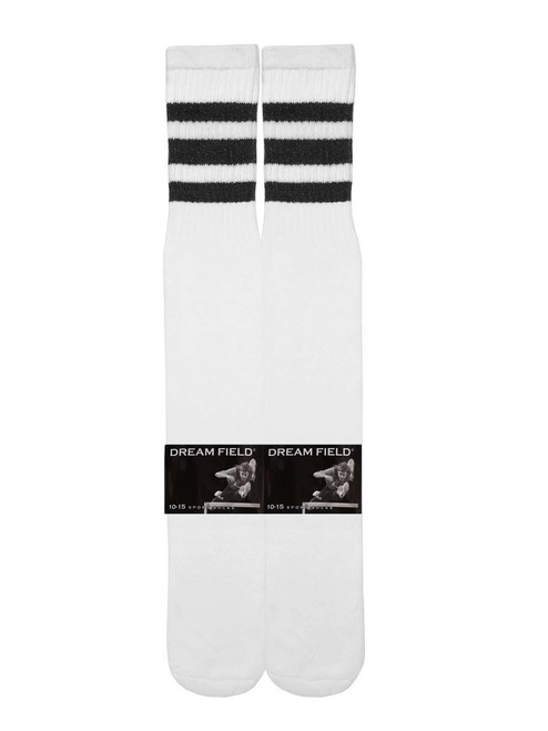 Dreamfield Tube Socks - White/Black (Size: 10-15) - 1 dozen