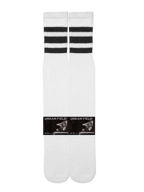 Dreamfield Tube Socks - White/Black (Size: 10-15) - 1 dozen
