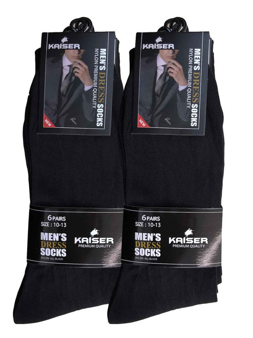 Kaiser Men's Dress Socks - Black (Size: 10-13)