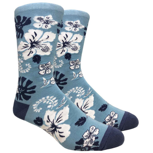 FineFit Novelty Socks - Hawaiian Flower - Blue (NV083B) - 1 Dozen