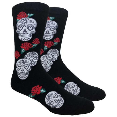 FineFit Novelty Socks - Skulls & Roses - Black (NV087A) - 1 Dozen