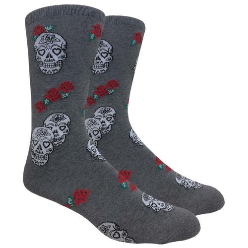 FineFit Novelty Socks - Skulls & Roses - Grey (NV087B) - 1 Dozen