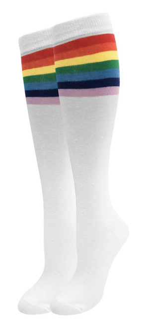 Julietta Knee-High Socks - White with Rainbow Stripes (SR452A) - 1 Dozen