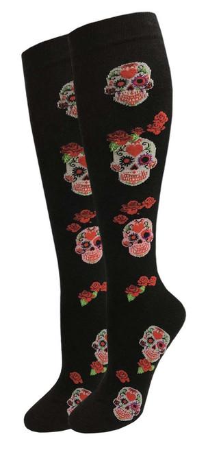 Julietta Knee-High Socks - Black with Skulls & Roses (SR452Blk) - 1 Dozen