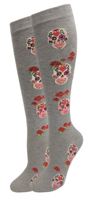 Julietta Knee-High Socks - Grey with Skulls & Roses (SR452GR) - 1 Dozen