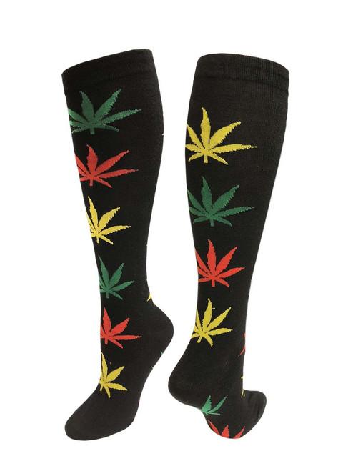 Julietta Knee-High Socks - Black with Rasta Leaves (SR454) - 1 Dozen