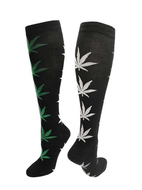 Julietta Knee-High Socks - Black with White & Green Leaves (SR455) - 1 Dozen