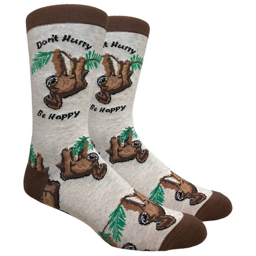 FineFit Novelty Socks - Don't Hurry, Be Happy Sloth - (NV095A) - 1 Dozen