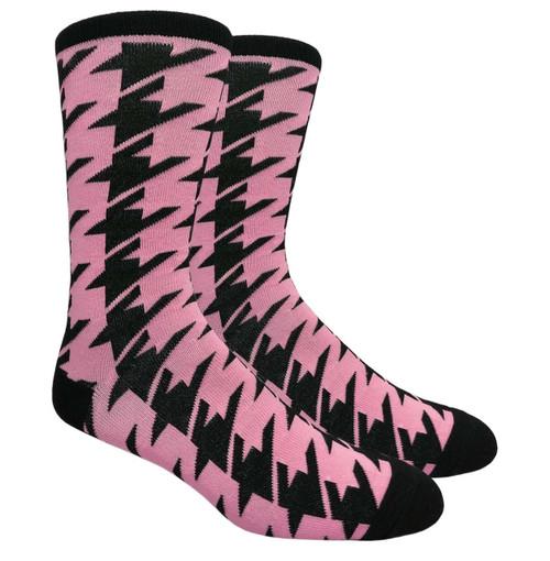 Finefit Houndstooth Dress Sock - Pink (1 Dozen)